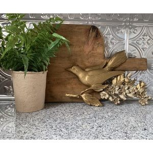 Vintage Gold Bird on Floral Branch Wall Hanging